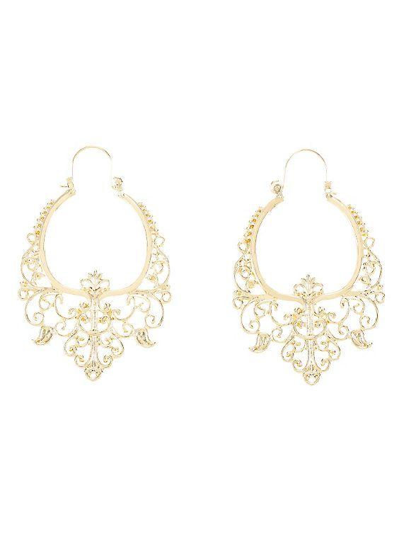 Blackheart Gold Filigree Hanger Hoop Earrings,