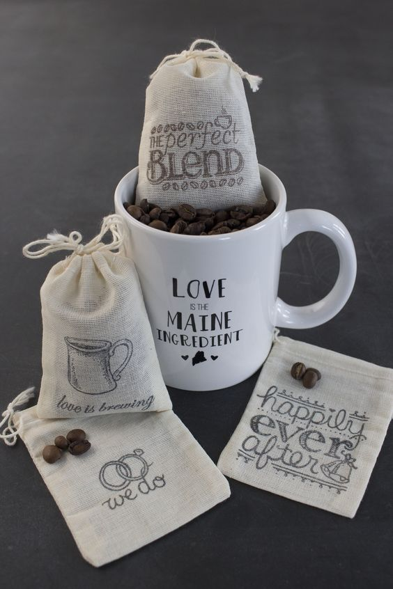 Custom coffee mug favors except with hot chocolate