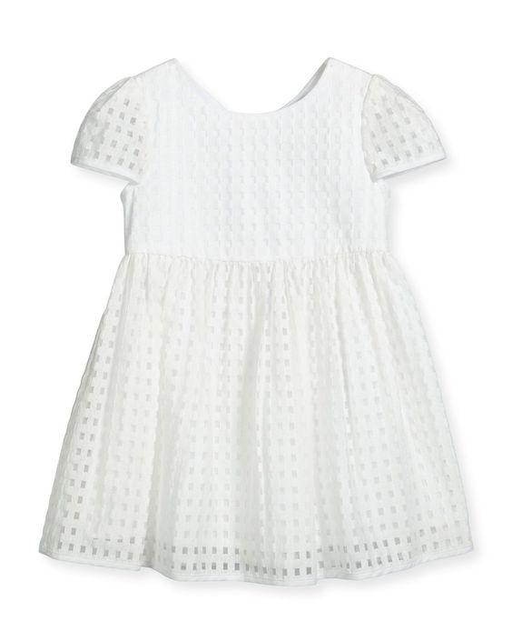 Lucy Gingham A-Line Dress, White, Size 8-14 - Milly Minis