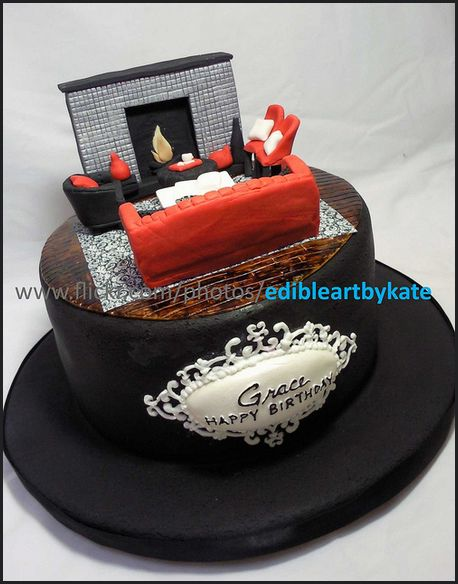 Luxury Cake Design Roma : living room interior design cake with sofa and fireplace ...