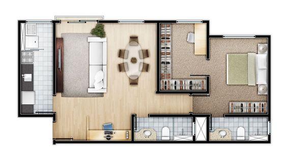 plantas pequenos apartamentos com closet - Pesquisa Google