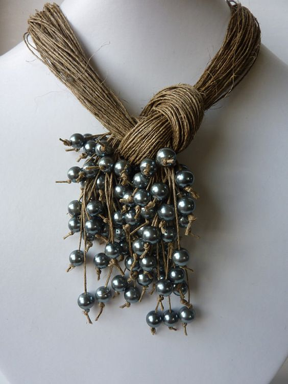 One of a Kind Natural Linen with Silver Pearls Necklace. $40.00, via Etsy.