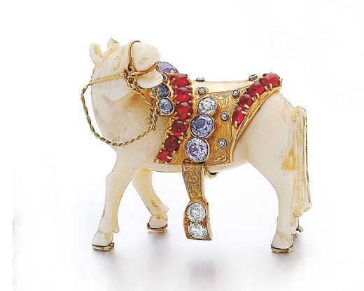 An American Gem-Set Carved Ivory Horse Brooch by Tiffany