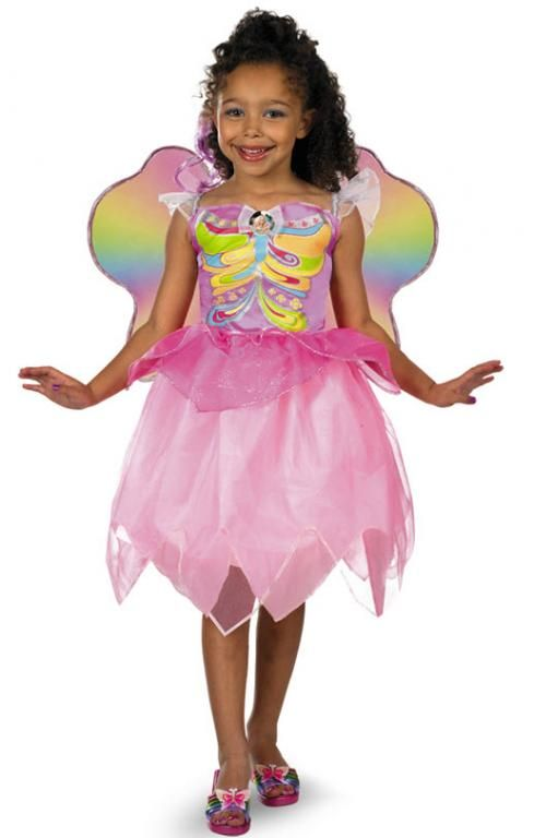 Girls Deluxe Barbie Rainbow Magic Costume Official Child Fancy Dress Outfit