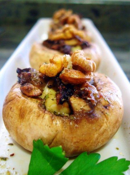 Champiñones rellenos de queso y jamón con nueces - El Aderezo - Blog de Recetas…