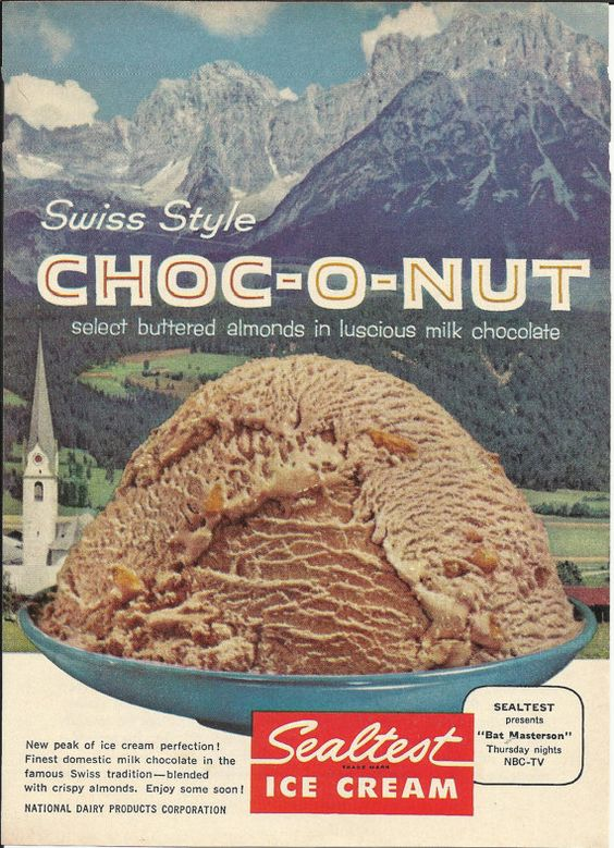 Sealtest Ice Cream CHOCO-O-NUT Original 1960 Vintage Print Ad Color Photo Milk Chocolate Buttered Almonds Swiss Alps