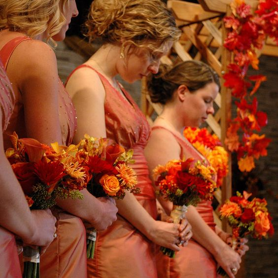 Bridesmaid dresses are always cuter in a hue of burnt-orange.