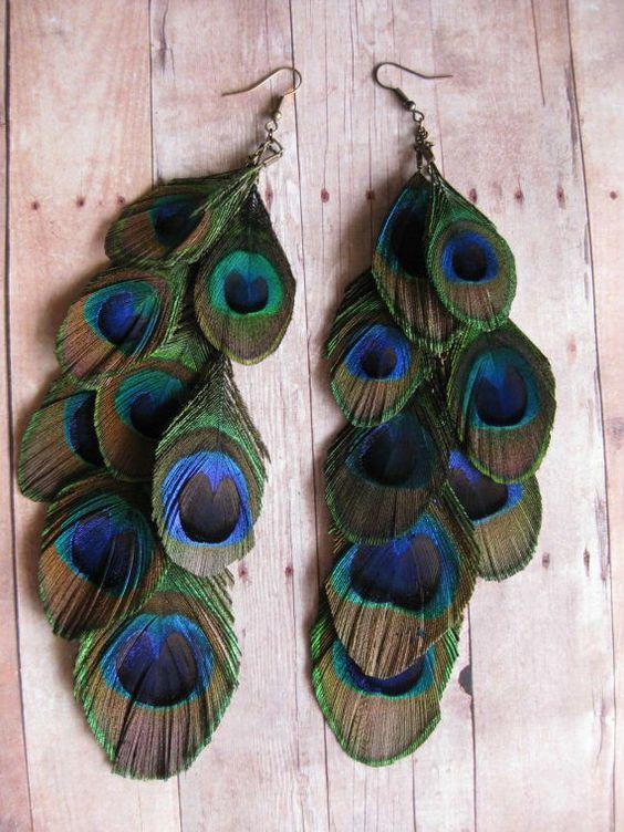 2013 hecho a mano de la pluma del pavo real earring