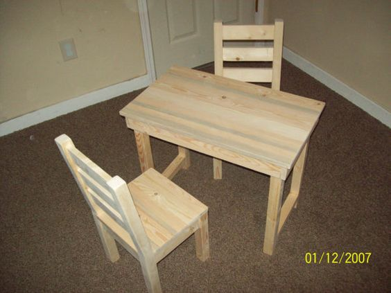 Kids Childs Table And Chair Set Unfinished Furniture