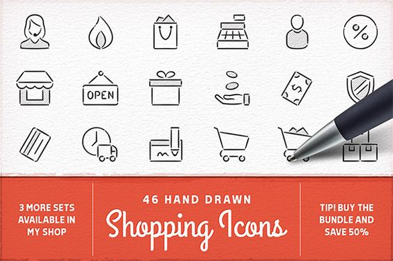 Hand Drawn Shopping Icons by Swedish Points on Creative Market