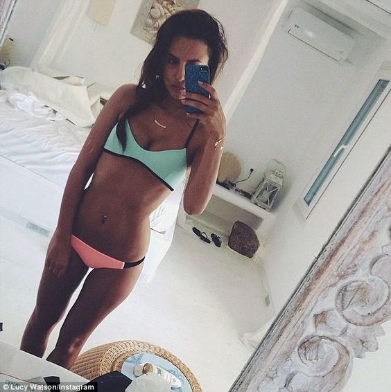 Lucy Watson displays her toned and tanned figure in contrast bikini... after revealing Spencer Matthews propositioned her on Made In Chelsea | Daily Mail Online