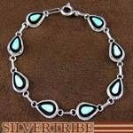 Zuni Indian Native American Jewelry Sterling Silver and Opal Link Bracelet