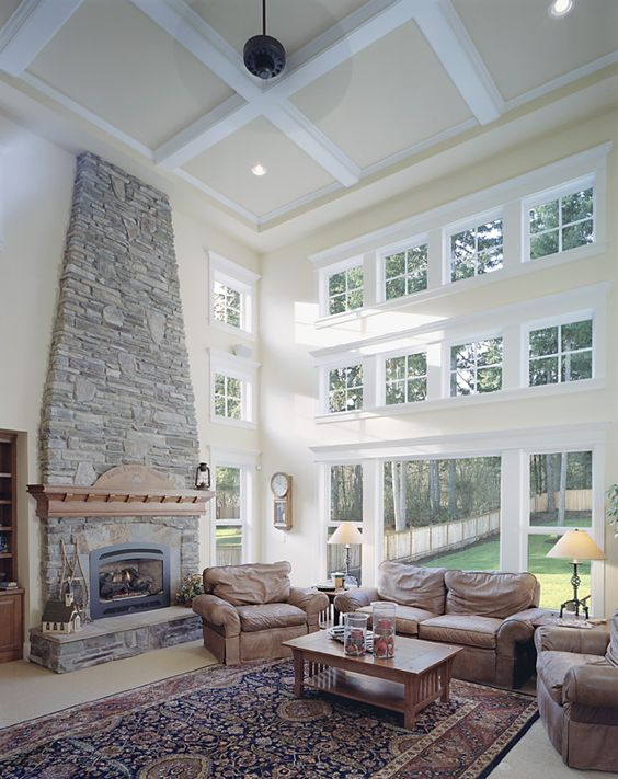 Windows And Two Story Space Make This Living Room A Delight! Craftsman House  Plan #
