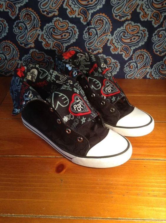 COACH Womens Hi Top Black Sneakers Bonney Size 9 B LOVE POPPY Fold Over Hearts #Coach #FashionSneakers