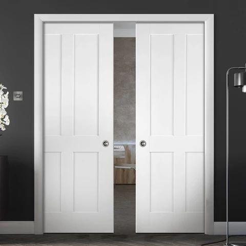 Pintu geser dua daun warna putih indoor