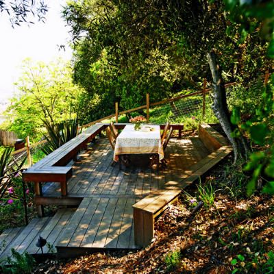 deck for sloped yard: Sloped Backyard, Backyard Ideas, Retaining Walls, Sloping Backyard,  Bee House, Hillside Deck, Slope Sunset