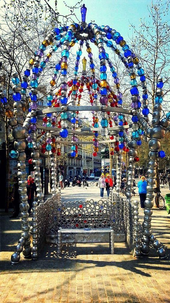 Entrance of the mtro stop Palais Royal-Muse du Louvre on Place Colette. b