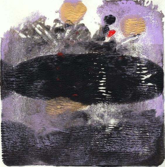 "Tarre, 6x6"", Monotype, abstract art by Amantha Tsaros, $85"