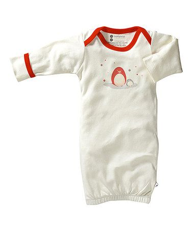 Look what I found on #zulily! White & Red Penguin Organic Gown by babysoy #zulilyfinds