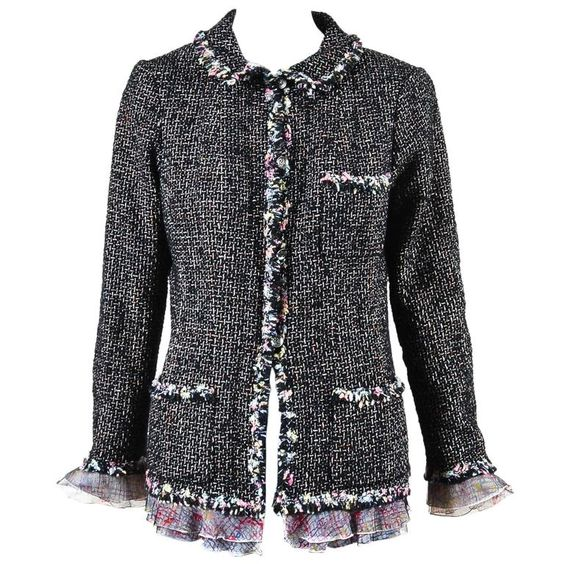 """Chanel 2004 Limited Edition """"NY Timeless"""" Black Multicolor Tweed Jacket"""