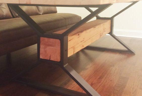 Modern Dining Table X Legs Coffee Table Metal Legs von DVAMetal