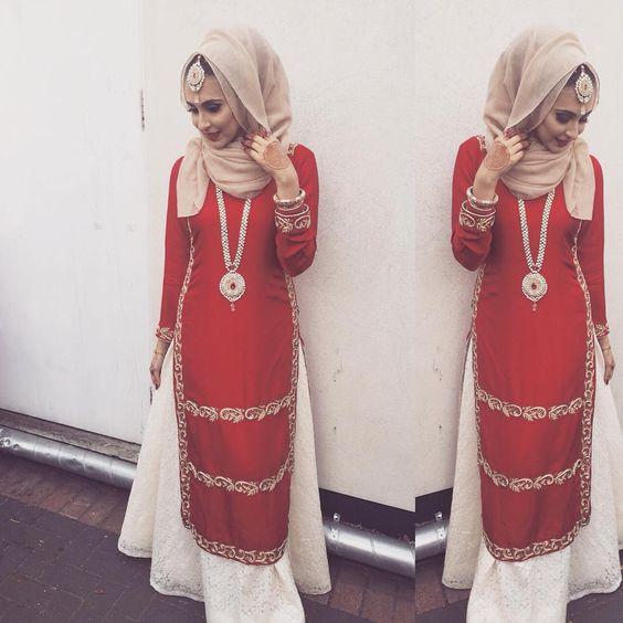 Hijab style with white lehnga