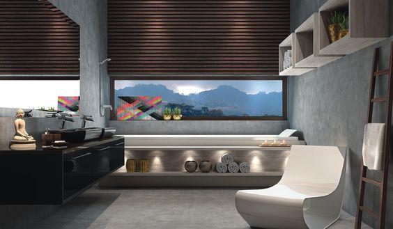 Banheiro Toscana Caixas: 15mm MDF Branco Frentes: 18mm MDF Lacca Color Shine Notte Tamponamento: Napoli | Toscana Puxadores: Fusion Acessórios: Luminária Led Minipontual