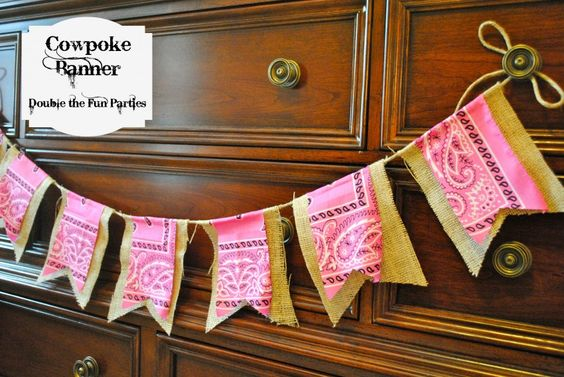 Cowgirl cowboy burlap banner tutorial from Double the Fun Parties