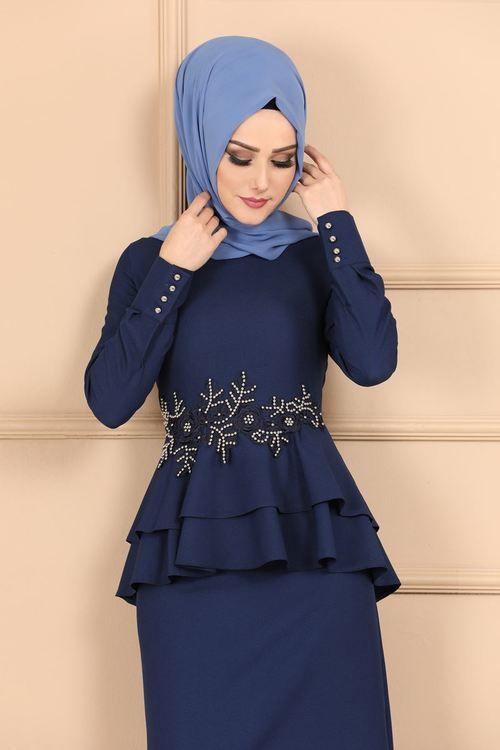 Modaselvim Elbise Gupur Ve Incili Kalem Elbise 5168ay342 Indigo The Dress Moda Stilleri Giyim