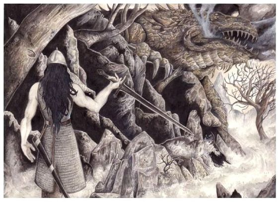 SciFi and Fantasy Art Túrin Turambar stands before Glaurung by Peter Xavier Price