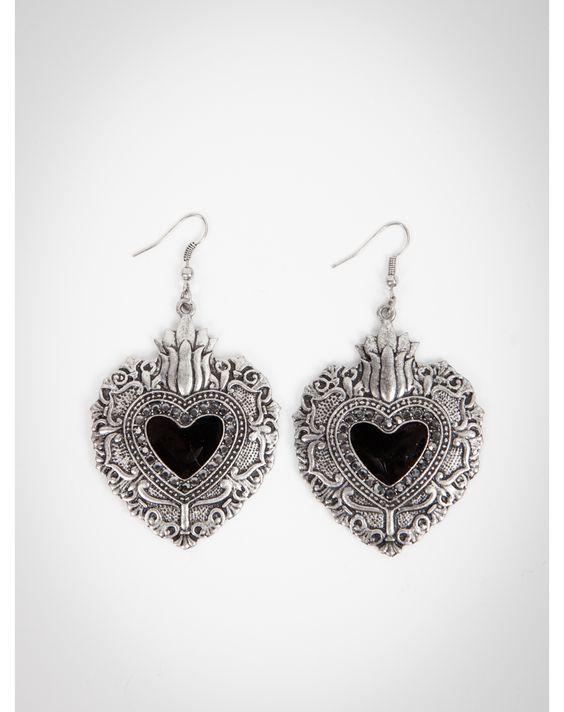 Black Antique Heart Dangle Earrings
