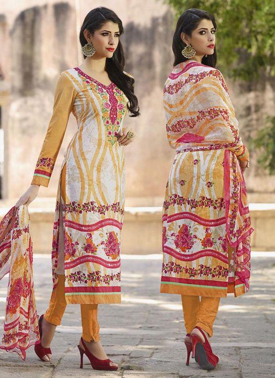 Sunshine Cotton   Cream and Orange Embroidered Work Churidar Designer Suit