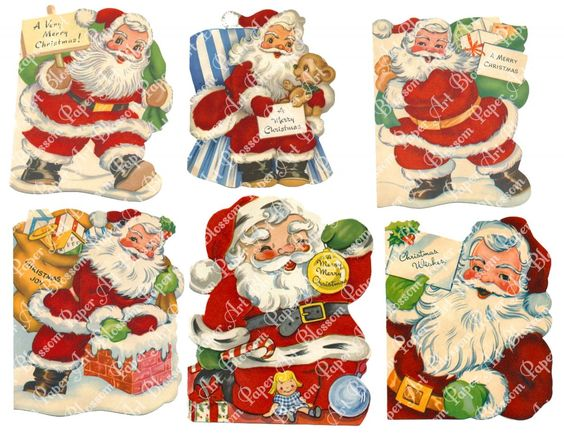 Christmas - Santa Claus Images - Scrapbooking - Collage Sheet - Printables Images - Scrapbook - Download - 1536