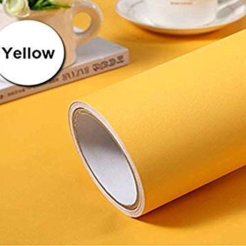Cvanu Yellow Contact Paper Wallpaper Solid Color Peel And Stick Wallpaper Self Adhesive Wallpaper Removabl Vinyl Paper Paper Wallpaper Peel And Stick Wallpaper