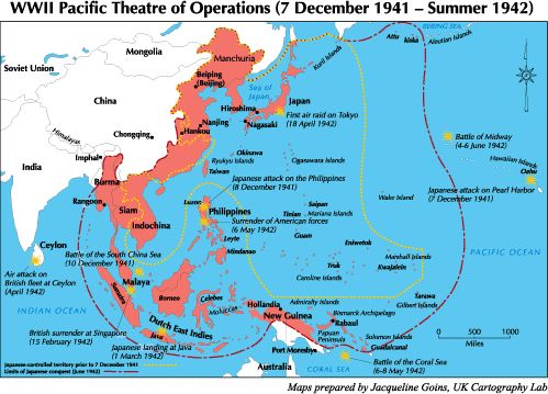 This map shows the Pacific Theater This consisted of Japan and