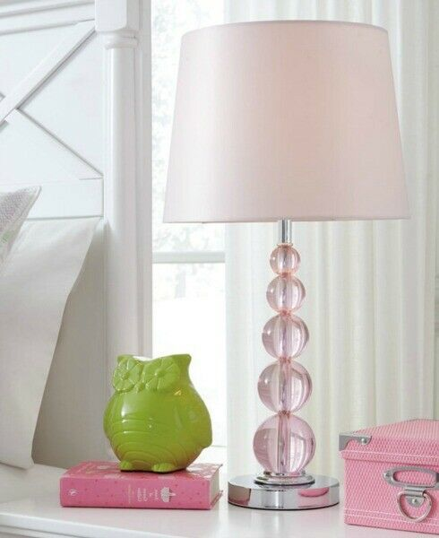 Stacked Glass Table Lamp Pink Crystal 23 Accent Light Girls