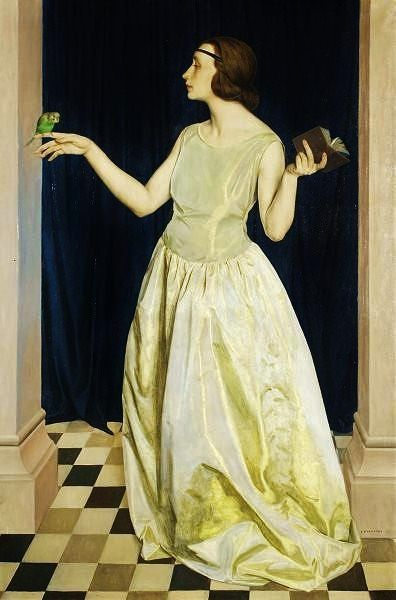 Louis Buisseret   Lady with Parrot 1923:
