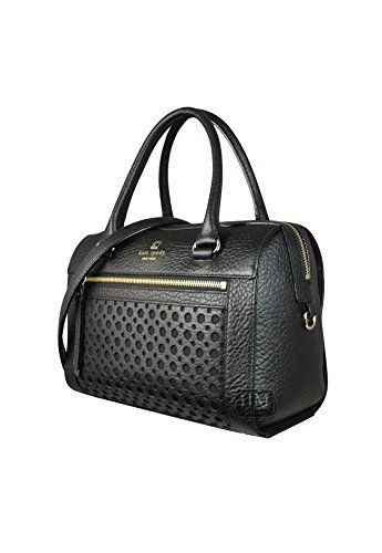 """Kate Spade WKRU2867 Delaney Perri Lane Bubbles Black. Pebbled leather with 14-karat gold plated hardware. Zip-top closure; front exterior zip pocket. Interior features zip, cellphone and multi-function pockets. Double handles with 4.5"""" drop; optional adjustable/detachable strap with 20"""" drop approx. Approx. Measurement 10.5"""" L x 8"""" H x 6"""" D."""