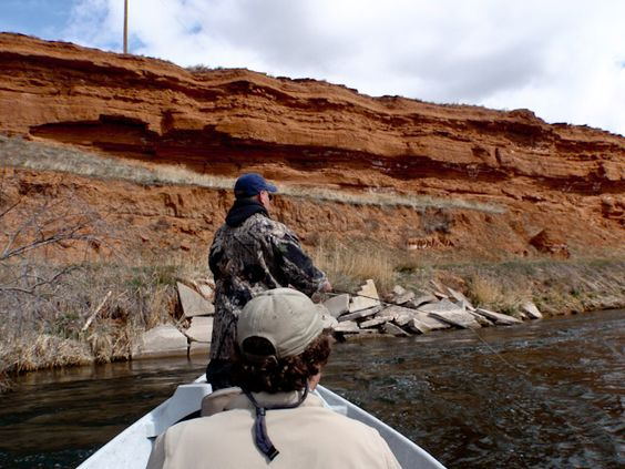red rocks and wild trout on the driftboat in Thermopolis, Wyoming