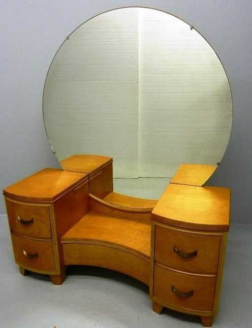 Vintage Mid Century Modern Blond Vanity With Round Mirror Mid Century Modern Modern Magazine Racks Mid Century