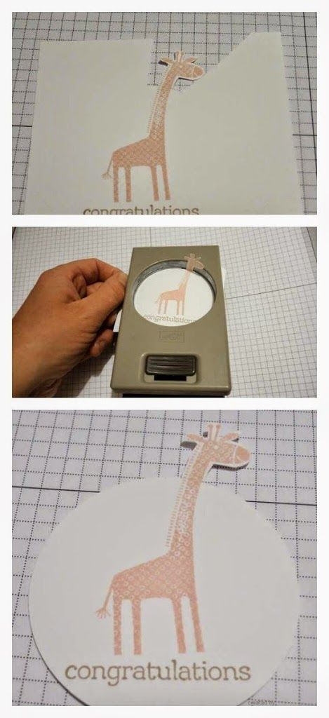 cardmaking technique for embellishment ... how to have stamped image stick out ove punched shape ... clever idea for long-necked giraffe ...
