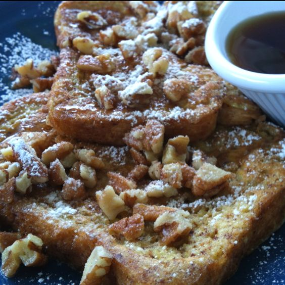 ... french toast syrup brunch pecans toast patio caramel mornings french
