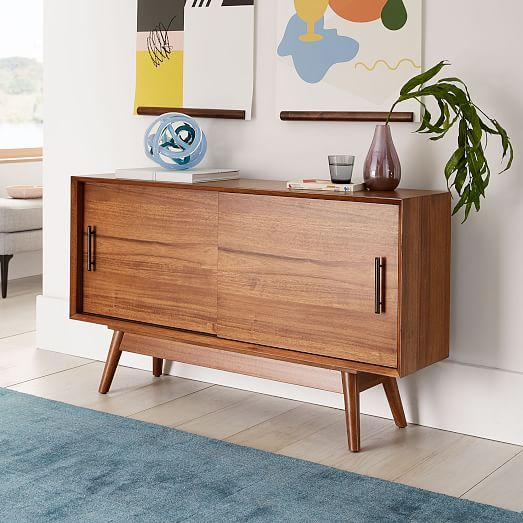 Mid Century Narrow Media Console 48 In 2020 Mid Century Media Console Mid Century Furniture Mid Century Modern Furniture