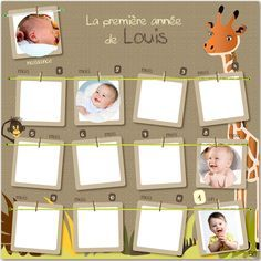 Pêle-mêle de la 1ère année de bébé sur le thème de la jungle pour décorer la chambre de votre enfant.