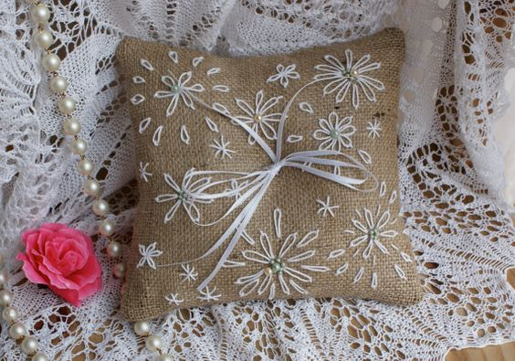 Embroidered ring bearer pillow by Littlewhiteboutique on Etsy, $25.00