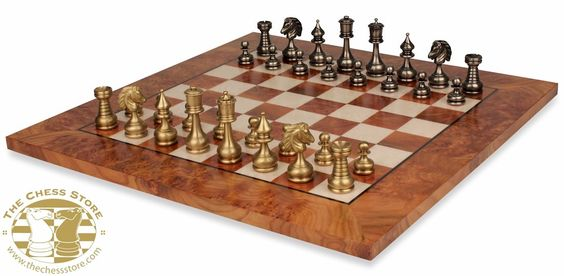 Chess Package. Staunton Metal Chess Set with Elm Root Chess Board by Italfama.  http://www.thechessstore.com/product/MS44BDP/Grande-Persian-Staunton-Brass-Chess-Set-with-Elm-Root-Board.html