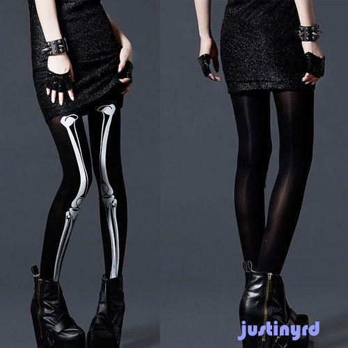 Vampire Hot Sacred Skeleton Bone Pants Tights Pantyhose Leggings Lady Stockings