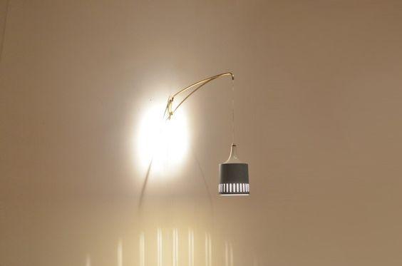 Danish Mid Century Lyfa Brass & Grey Metal Wall Arm Lamp - Lighting - 20ème Siècle