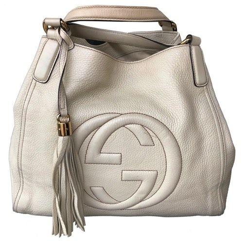 Pre Owned Gucci Soho Ecru Leather Handbag Modesens In 2020 Gucci Soho Bag Leather Handbags Gucci