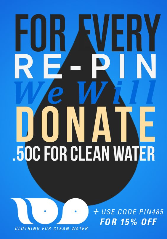 *DO THIS.  For every repin we will donate 50 cents to help people get clean water! Also use, the code PIN485 for 15% off :)  #CleanWater